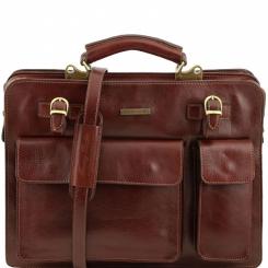Мужской коричневый портфель с оригинальными внешними карманами от Tuscany Leather, арт. VENEZIA TL141268