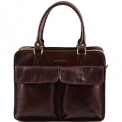 Мужской портфель с двумя отделениями и открытыми карманами под клапаном от Tuscany Leather, арт. Volterra TL141544