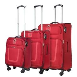 Комплект трех чемоданов на колесах, из полиэстера красного цвета, с кодовым замком от Verage, арт. GM18054W 19/24/28 red