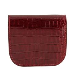 Красная монетница из качественной натуральной кожи с тиснением под крокодила от Versado, арт. 137 red croco