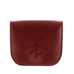 Красная компактная кожаная монетница с двумя кармашками внутри от Versado, арт. 137 red sport
