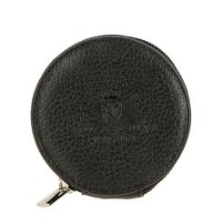Монетница из натуральной кожи, черного цвета, с одним отделением на молнии от Versado, арт. 157 black