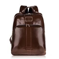 Мужской кожаный рюкзак с двумя отделами и большим карманом от Versado, арт. VD015 choco
