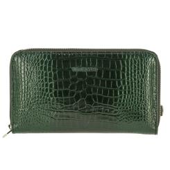 Стильный женский кожаный кошелек зеленого цвета с тиснением под рептилию от Versado, арт. VD036 green croco