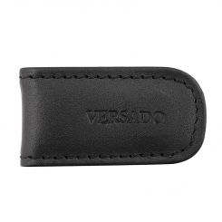 Небольшой зажим для купюр из черной натуральной кожи с прошивкой по краю от Versado, арт. VD131 black