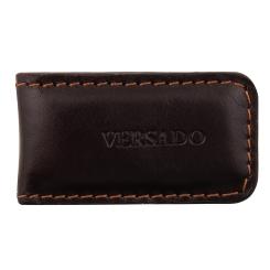 Зажим для денег, выполненный из натуральной кожи коричневого цвета от Versado, арт. VD132 brown