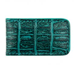 Зеленый кожаный зажим для купюр с тиснением под крокодила от Versado, арт. VD132 green croco