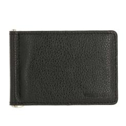 Черный кожаный зажим для денег с кармашками и уголком от Versado, арт. VD134 relief black