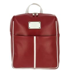 Стильный женский кожаный рюкзак красного цвета, с белой окантовкой от Versado, арт. VD177 red/white