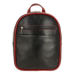 Черный женский рюкзак из натуральной кожи с красной окантовкой от Versado, арт. VD189 black/red