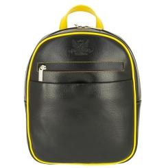 Черный женский рюкзак из натуральной кожи с желтой окантовкой от Versado, арт. VD189 black/yellow
