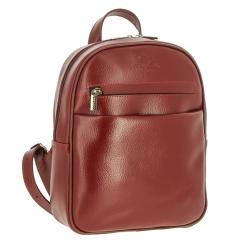 Красный женский рюкзак небольшого размера из натуральной плотной кожи от Versado, арт. VD189 red