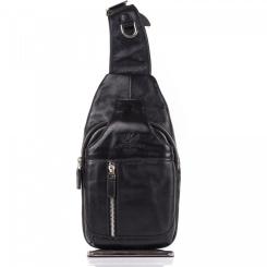 Мужской рюкзак из натуральной кожи, черного цвета, небольшого размера с одним отделом от Versado, арт. VD217 black