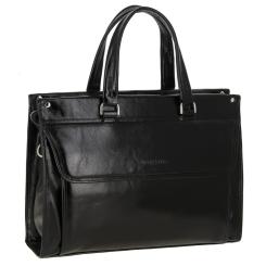 Стильная деловая женская сумка из черной кожи, модель для документов от Versado, арт. VG190 13 black