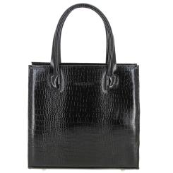 Стильная женская сумка черного цвета, кожаная с тиснением под рептилию от Versado, арт. VG253 black croco