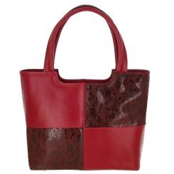 Модная женская сумка красного цвета, из комбинированной натуральной кожи от Versado, арт. VG254 red