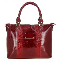 Элегантная женская кожаная сумка красного цвета для повседневного использования  от Versado, арт. VG455 red croco