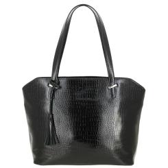 Модная женская сумка черного цвета, из натуральной кожи с тиснением от Versado, арт. VG502 black croco