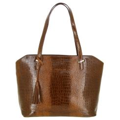 Женская сумка коричневого цвета из тисненной кожи под рептилию от Versado, арт. VG502 brown croco
