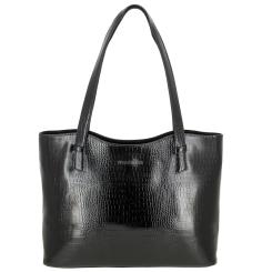 Практичная женская сумка черного цвета с тиснением под рептилию от Versado, арт. VG505 black croco