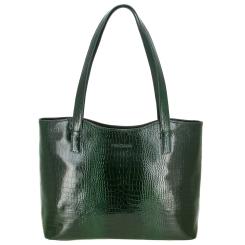 Женская удобная сумка зеленого цвета, из натуральной тисненной кожи от Versado, арт. VG505 green croco