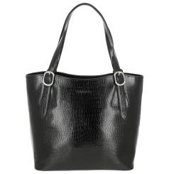 Женская кожаная сумка черного цвета, с тиснением под рептилию от Versado, арт. VG513 black croco