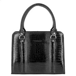 Стильная женская сумка черного цвета из натуральной кожи от Versado, арт. VG534 black croco
