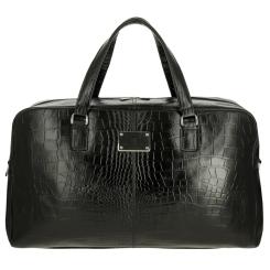 Мужская дорожная сумка из натуральной кожи с тиснением под рептилию от Versado, арт. 107-1 black stone