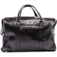 Стильная мужская кожаная дорожная сумка с двумя колесами и ручкой-петлей от Versado, арт. 205 black