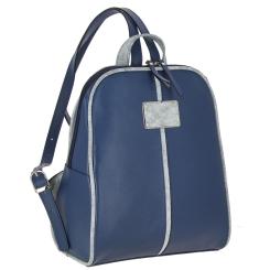 Вместительный женский кожаный рюкзак голубого цвета с ручкой для переноски от Versado, арт. VD093 maritime