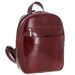 Роскошный женский рюкзак из темно-красной натуральной кожи с тиснением от Versado, арт. VD189 red croco