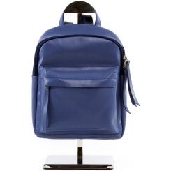 Синий женский рюкзак небольшого размера из плотной и гладкой натуральной кожи от Versado, арт. VD193 blue