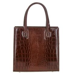 Элегантная женская сумка коричневого цвета, из натуральной тисненной кожи от Versado, арт. VG253 brown croco