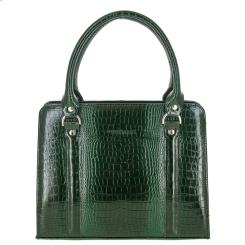 Стильная женская сумка зеленого цвета из тисненной кожи от Versado, арт. VG534 green croco