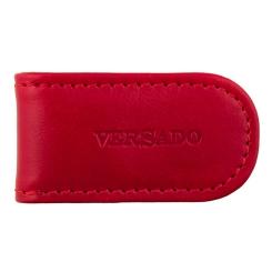 Небольшой зажим для денег, выполненный из красной натуральной кожи от Versado, арт. VD131 red