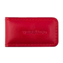 Ярко-красный зажим для купюр из натуральной кожи с зернистой фактурой от Versado, арт. VD132 red
