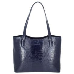 Удобная кожаная женская сумка синего цвета, с тиснением под рептилию от Versado, арт. VG505 blue croco