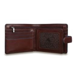 Мужское портмоне из гладкой кожи с эффектной голубой отделкой от Visconti, арт. ALP86 Brown