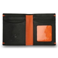 Черно-оранжевое мужское портмоне с вместительным отделом от Visconti, арт. AP60 Black/Orange