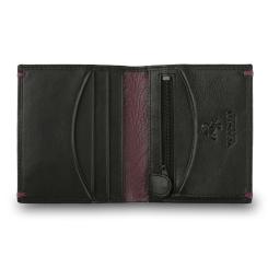 Компактное мужское портмоне с минимальным набором отделов и кармашков от Visconti, арт. AP61 Black/Burgundy