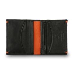 Кожаное мужское портмоне небольшого размера, выполненное в лаконичном стиле от Visconti, арт. AP61 Black/Orange