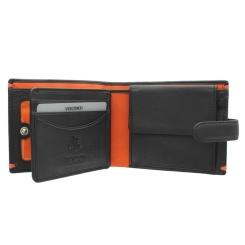 Черное мужское кожаное портмоне с яркими оранжевыми вставками внутри от Visconti, арт. AP63 Black/Orange