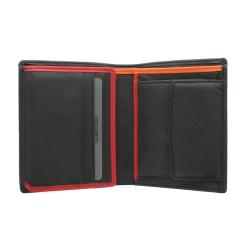 Черное мужское портмоне с отделкой красного и оранжевого цвета от Visconti, арт. Bond BD22 Dr. No Black/Red/Orange