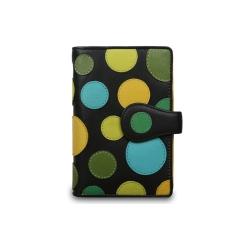 Оригинальный черный женский кожаный кошелек с яркой аппликацией от Visconti, арт. P1 Lily Pad