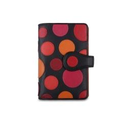 Оригинальный черный женский кожаный кошелек с яркой аппликацией от Visconti, арт. P1 Very Berry