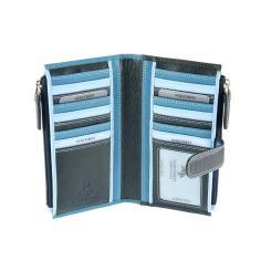 Женский кошелек из мягкой натуральной кожи синего и голубого цвета от Visconti, арт. RB100 Blue Multi
