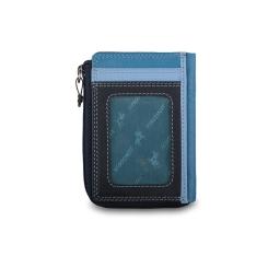 Голубая кожаная кредитница с вместительным отделом и внешними карманами от Visconti, арт. RB110 Blue Multi