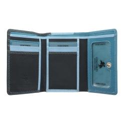 Компактный женский кошелек из натуральной кожи синего и голубого цвета от Visconti, арт. RB39 Blue Multi