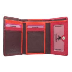Раскладной женский кожаный кошелек с внешней монетницей на молнии от Visconti, арт. RB39 Plum Multi