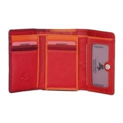 Складной женский кошелек из красной натуральной кожи с монетницей на молнии от Visconti, арт. RB39 Red Multi